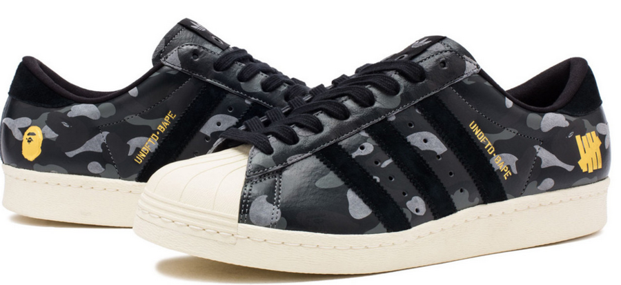 A Bathing Ape x Undefeated x adidas Superstar 80s Collaboration ...